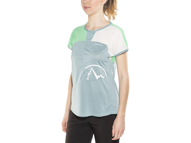 La Sportiva Push - Camiseta manga corta Mujer - gris/Turquesa